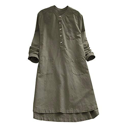 Aniywn Women's Retro Tops Dress Mini Shirt Dresses Button Round Neck Plus Size Long Sleeve Dress Army Green
