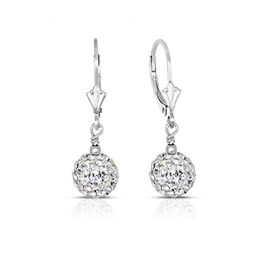 - Sterling Silver Dangle Crystal Ball Drop Earrings (8MM)