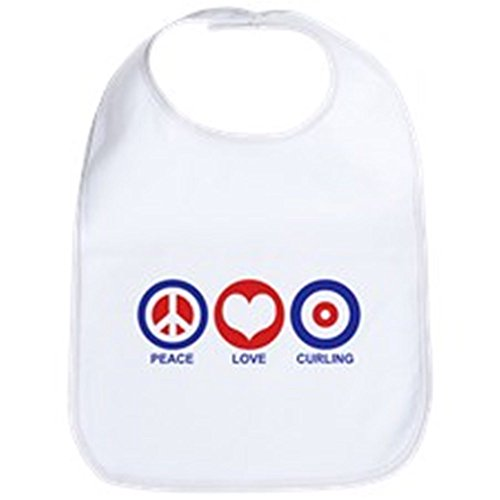 CafePress - Peace Love Curling Bib - Cute Cloth Baby Bib, Toddler (Peace Bib)