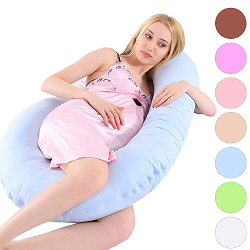 MINGPINHUIUS Pregnancy Body Pillow with Pillowcase, Pregnancy Pillow and Maternity Pillow for Pregnant Women Sleeping 51″ Fuller Cotton C Shaped (Light Blue)