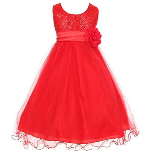 Shanil Inc. Little Girls Red Sequin Mesh Flower Sash Christmas Special Occasion Dress 2 from Shanil Inc.