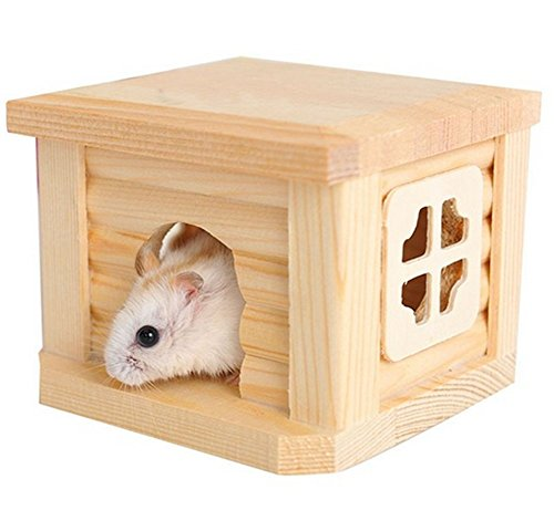 (Pet Hamster Wooden House Squirrel Home Gerbil Chalet Mice Hamster Cage Pet Supplies )