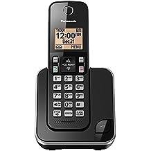 Panasonic KX-TGC350B Expandable Cordless Phone with Amber Backlit Display - 1 Handset, Black