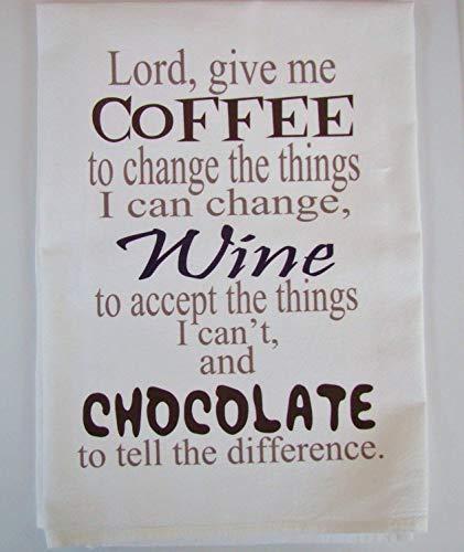 Sweet Bohemian Life Coffee, Wine, Chocolate flour sack Kitchen towel ()