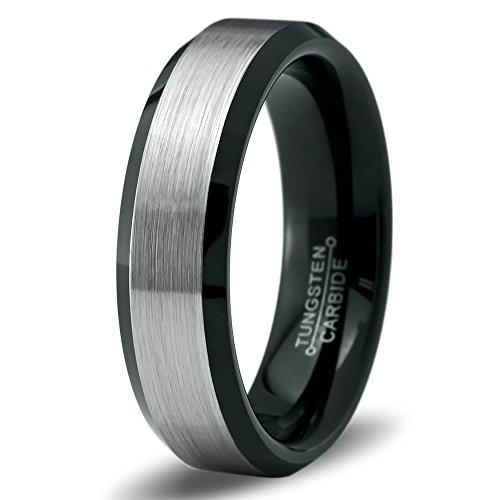 Tungsten Wedding Band Ring 6mm for Men Women Comfort Fit Black Enamel Beveled Edge Polished Lifetime Guarantee