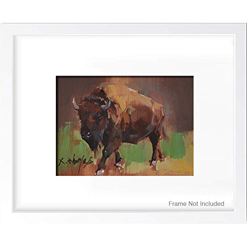 Cow Art Print, Original Oil Painting Print, Animal Wall Art Picture Poster, Farmhouse Kitchen Decor by Thomas Xie, 5x7 inch