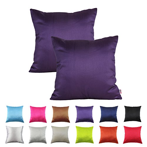 Queenie® - 2 Pcs Solid Color Faux Silk Decorative Pillowcase Cushion Cover for Sofa Throw Pillow Case Available in 12 Colors \u0026 7 Sizes (15.75 x 15.75 inch ...