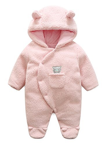 LOTUCY Baby Winter Cartoon Sheep Warm Fleece Hoodie Footies Jumpsuit Rompe Outwear Size 6-9 Months (Pink)