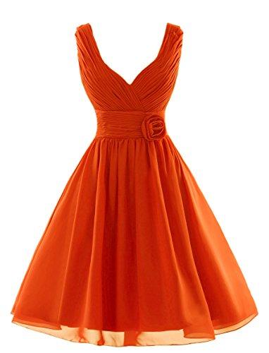 Dobelove V-cou Buste Volants En Mousseline De Soie Plissée Courte Robe De Demoiselle D'honneur De L'orange Des Femmes