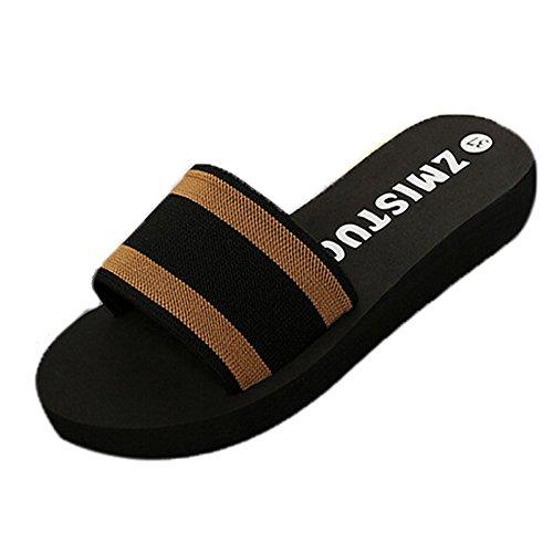 De Marron Chaussons Plage Antidérapant Tongs Flop Cm Été Semelles Femme Sunenjoy Compensées Chaussures Casual Rayure Sandales Épaisses 3 Flip U0w8Ix8Eq