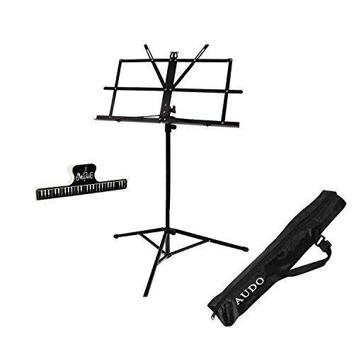 Music Stand Audo Folding Music Stand With Music Book Clip And Carry Bag Black (1Pack) by Audo (Image #6)