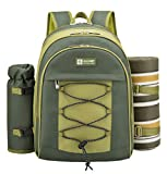 ALLCAMP OUTDOOR GEAR Picnic Backpack with Detachable Bottle/Wine Holder, Fleece Blanket, Plates and Cutlery Set