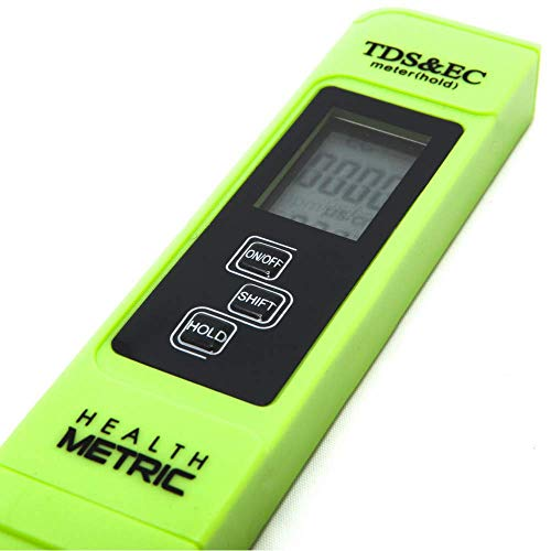 Professional TDS ppm Conductivity Meter - Quick and Easy EC TDS and Temperature Test Pen | 0-9999 ppm with ± 2% Accuracy | Perfect 3-in-1 Tester For Ro Water Aquarium Hydroponics Coffee Pool etc. (Fluoride Water Detector)
