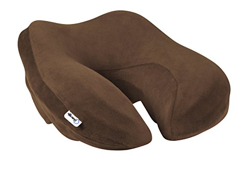 Neck Support Travel Neck Pillow - Travel Pillow for Airplanes - Memory Foam - Long Flights - Chocolate Brown