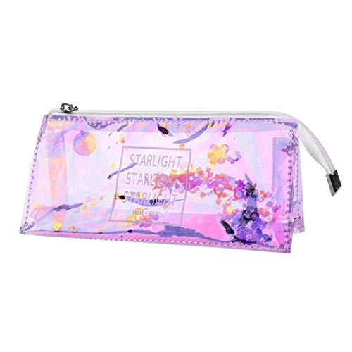 Hot Sale! Hongxin Clearance Creative Japanese Korean Cool Laser Transparent Sequins Quicksand Reflective Pencil Stationery Bag Maiden Heart Pencil Case Back to School Supplies Creative Gift -