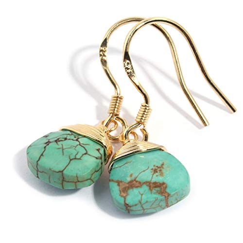 Natural Stone Wire Wrap Dangle Drop Earrings Gold Plated 925 Sterling Silver Hook/Turquoise Triangle 9mm Water Drop