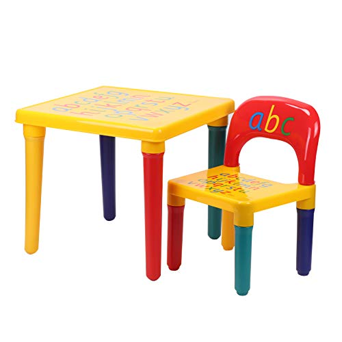 KingSaid Kids Table and Chair Set ABC Alphabet Table Furniture Child Learn & Play Educational Present