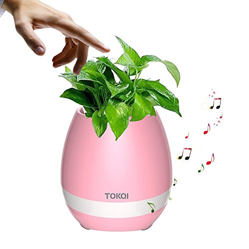 Price comparison product image Ochine Flowerpot Play Piano on a Real Plant Night Light Smart Touch Music Plant Lamp Rechargeable Wireless Festival Gift (Pink)