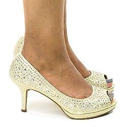 Gold Peep Toe With Rhinestones High Heel Dress Pump