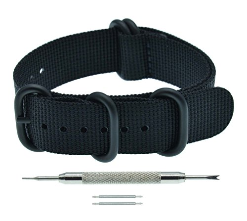 19mm Black ZULU Style Thick Nylon Watch Strap Replacement for (Watch One Piece Get)