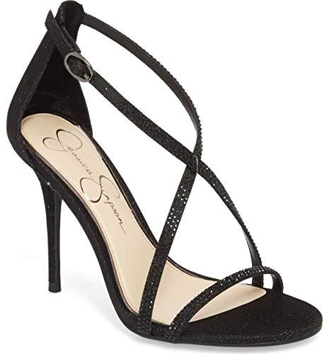 Jessica Simpson Women's ANNALESSE, Black Glitter, 8.5 Medium US (Toe Jessica Open Heels)