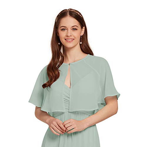 AW Women's Chiffon Cardigan Shrug Cover Up Wedding Cape Wrap Shawl Bolero Jacket for Bride, Sage Green, XXL