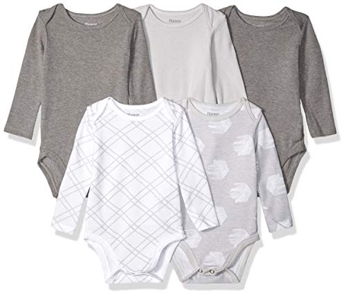 Layette Baby Unisex (Hanes Ultimate Baby Flexy 5 Pack Long Sleeve Bodysuits, Grey Fun 0-6 Months)