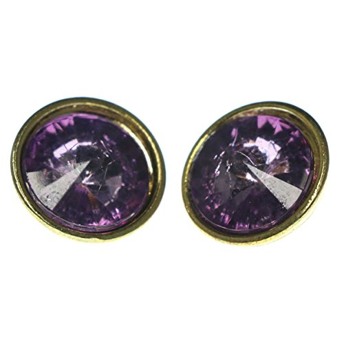 - Purple & Gold-Tone Colored Metal Stud-Earrings With Crystal Accents LQE975