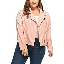 Agnes Orinda Women's Plus Size Asymmetrical Zip Front PU Leather Moto Jacket