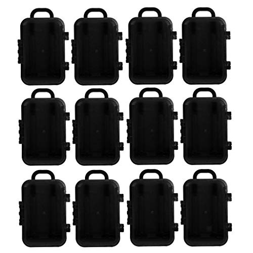 BROSCO 12pcs Fashion Plastic Pull Lever Travel Suitcase Gift Candy Boxes Wedding Favor | Color - Black