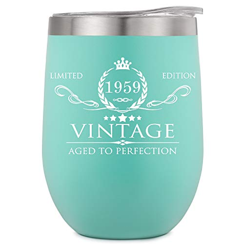 1959 60th Birthday Gifts for Women Men Insulated Wine Tumbler - 12oz Mint Double Wall Vacuum Cup with Lid - Funny 60th Anniversary Gifts Idea, Decorations for Her/Him, Mom, Dad, Husband, Wife