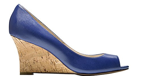 Cole Haan Dames Lena Open Teen Wedge 75mm Twilight Blue-cork