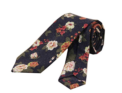 Jelinda Men's Floral Necktie Cotton Flower Pattern Skinny Tie