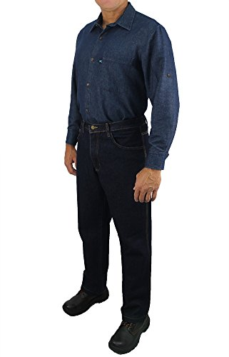 Kolossus Men's Lightweight 100% Cotton Long Sleeve Work Shirt with Pockets (Chambray, Small) by Kolossus (Image #3)
