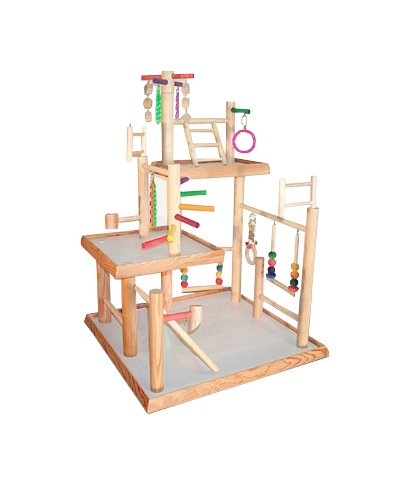 BirdsComfort Three Levels Parrot Gym, Bird Activity Center, Wood Tabletop Play Stand for Cockatiels - Base: 22'' x 20' , Overall Height: 32'' - 3 levels by Bird Gyms