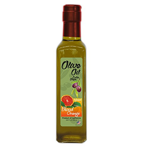 Blood Orange Extra Virgin Olive Oil - Cold Pressed - California Ranch to Table EVOO - Harvest Date: Late 2017/Early 2018-8.45 Fl-Oz Quadra Glass Bottle-Cork T Cap - Super Fresh - Non GMO by The Gallery Market (Image #2)