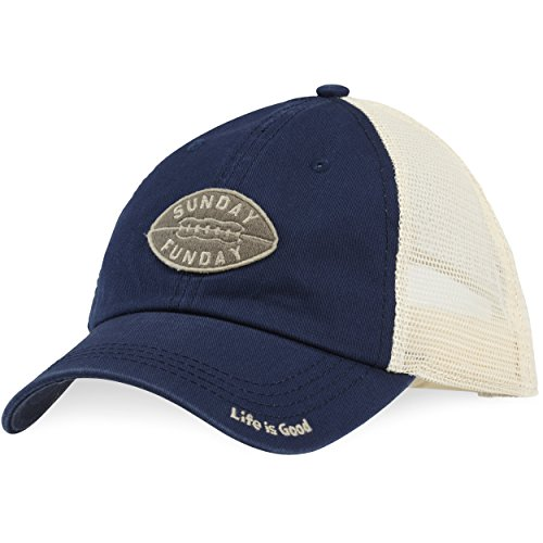 Life is good Soft Mesh Back Hat Sunday Football, Darkest Blue, One Size