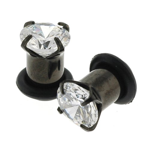 Black Titanium Anodized 316L Steel Hollow Prong Set Clear Gem Tunnel with O Ring 12G