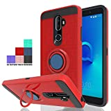 Wtiaw for:Alcatel 3V Case,Alcatel 5099A Case,Alcatel 3V Phone Case,360 Degree Rotating Ring Kickstand [Brushed Metal Texture] Hybrid Dual Layer Defender Case for Alcatel 3 V-CH Red