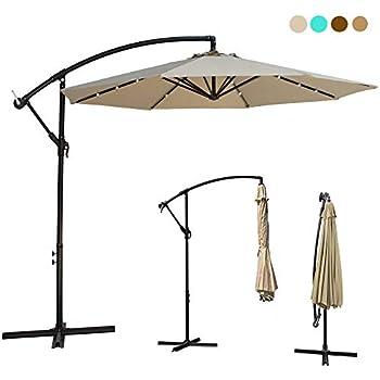 10ft deluxe solar power outdoor patio umbrella offset cantilever sun umbrella. Black Bedroom Furniture Sets. Home Design Ideas