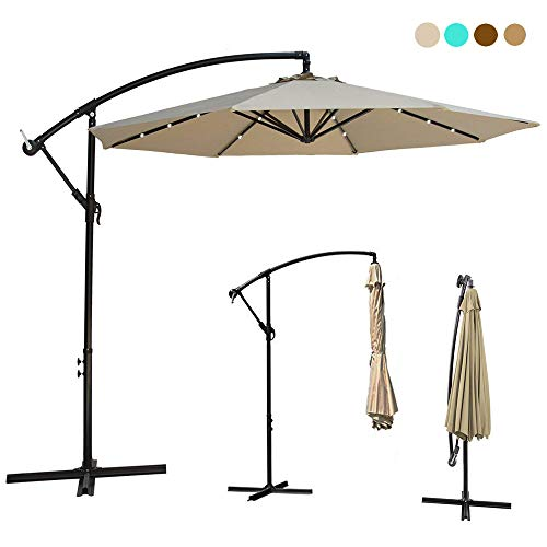 10ft Deluxe Solar Power Outdoor Patio Umbrella - Offset Cantilever Sun Umbrella, Hanging Shade Umbrella w/32 LED Lights | Crank Lift System | Cross Base with Heavy Duty 250g/sqm Polyester PA Coating