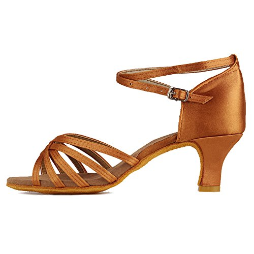 Roymall Womens Satin Latin Dance Shoes Model 213 5cm Brown ALze66kX