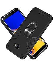 FAWUMAN Funda para Samsung Galaxy J4+/J4 Plus (2018) Soft TPU + Duro PC Doble Parachoques Cubierta a Anillo Soporte con Soporte y Carcasa Desmontable, Funda Protectora Serie Armadura (Negro)