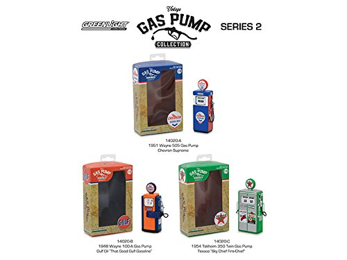 Vintage Gas Pump Series 2 Complete Set of 3 Chevron, Standard Oil and Texaco Pumps, 1/18 Diecast Models by GreenLight 14020