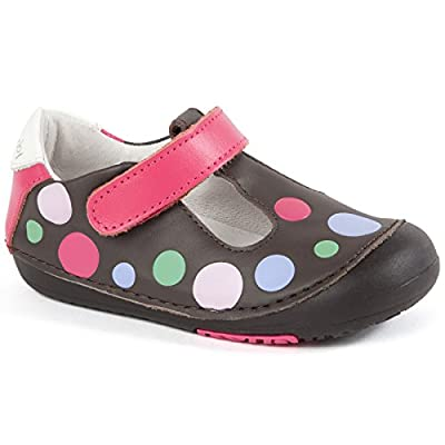 Momo Baby Girls First Walker/Toddler Polka Dots Brown T-Strap Leather Shoes