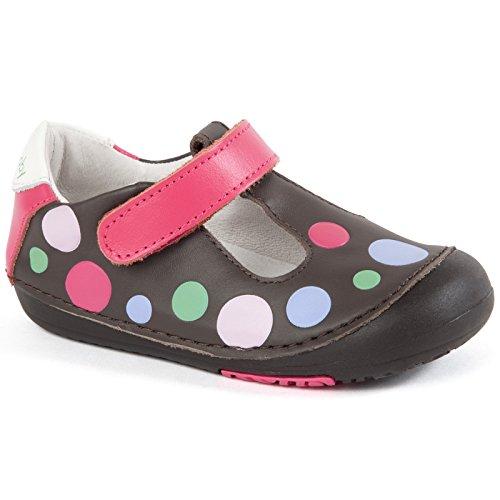 Momo Baby Girls First Walker/Toddler Polka Dots Brown T-Stra