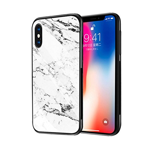 iphone X Case,iphone X Cover,Ikwuanfly Marble Pattern Tempered Glass Back Cover TPU Soft Silicone Frame Shockproof Scratch Protection Shell for Apple iphoneX-White