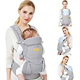 Viedouce Baby Carrier Ergonomic/Pure Cotton More Lightweight and Breathable/Multiposition: Dorsal and Ventral/Adjustable Headrest/for Newborn and Toddler 0 to 4 Years (3.5 to 20 kg)
