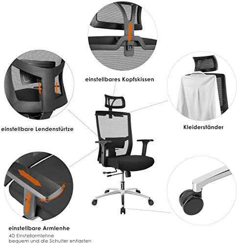 Fixkit Chaise Bureau Ergonomique,Chaise Patron,Accoudoirs,Appui-Tête et Hauteur Réglables, 65 ° Incliné,Rotation à 360…