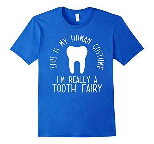 Fairy Tooth Accessories Costume (Mens Funny Human Costume Tooth Fairy T-Shirt 2XL Royal)